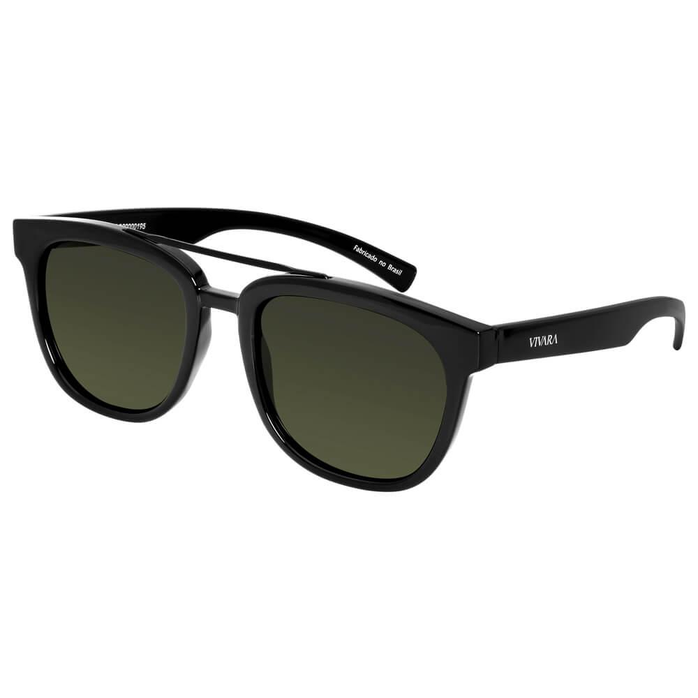 a28fbaca6 Óculos de Sol Quadrado em Acetato Preto Brilho