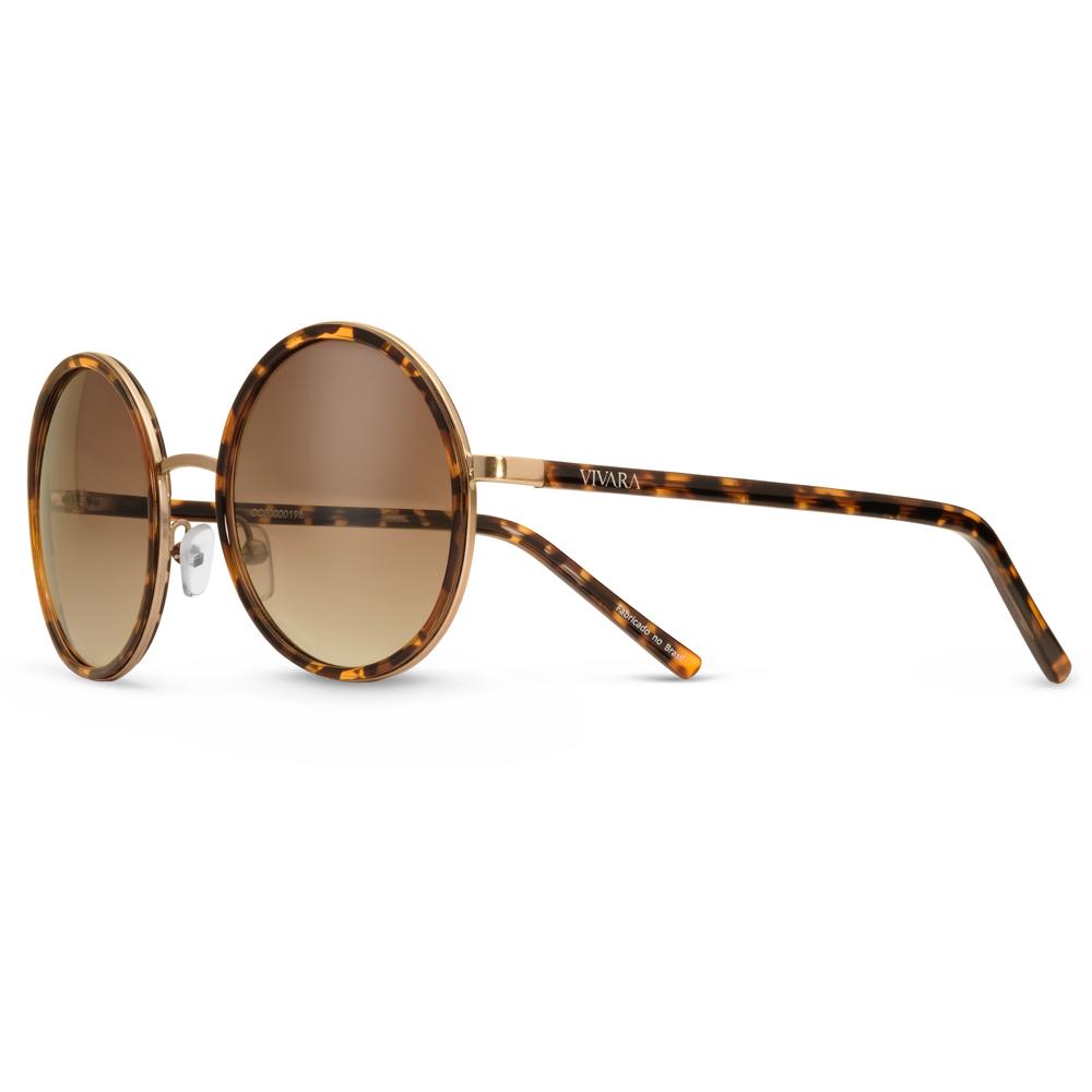 6461f1a22 Óculos de Sol Redondo em Acetato Tartaruga