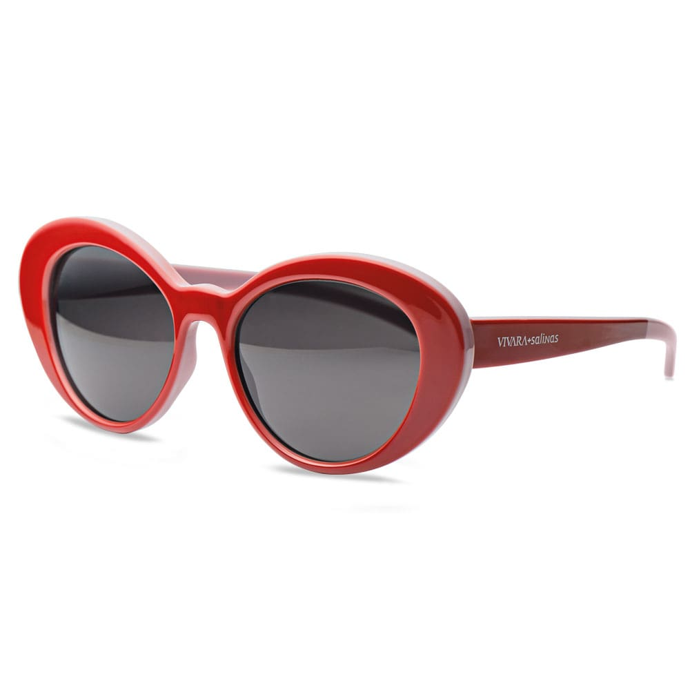 f825281f2787e Óculos de Sol Oval em Acetato Vermelho e Lilás - Colecao Vivara + Salinas