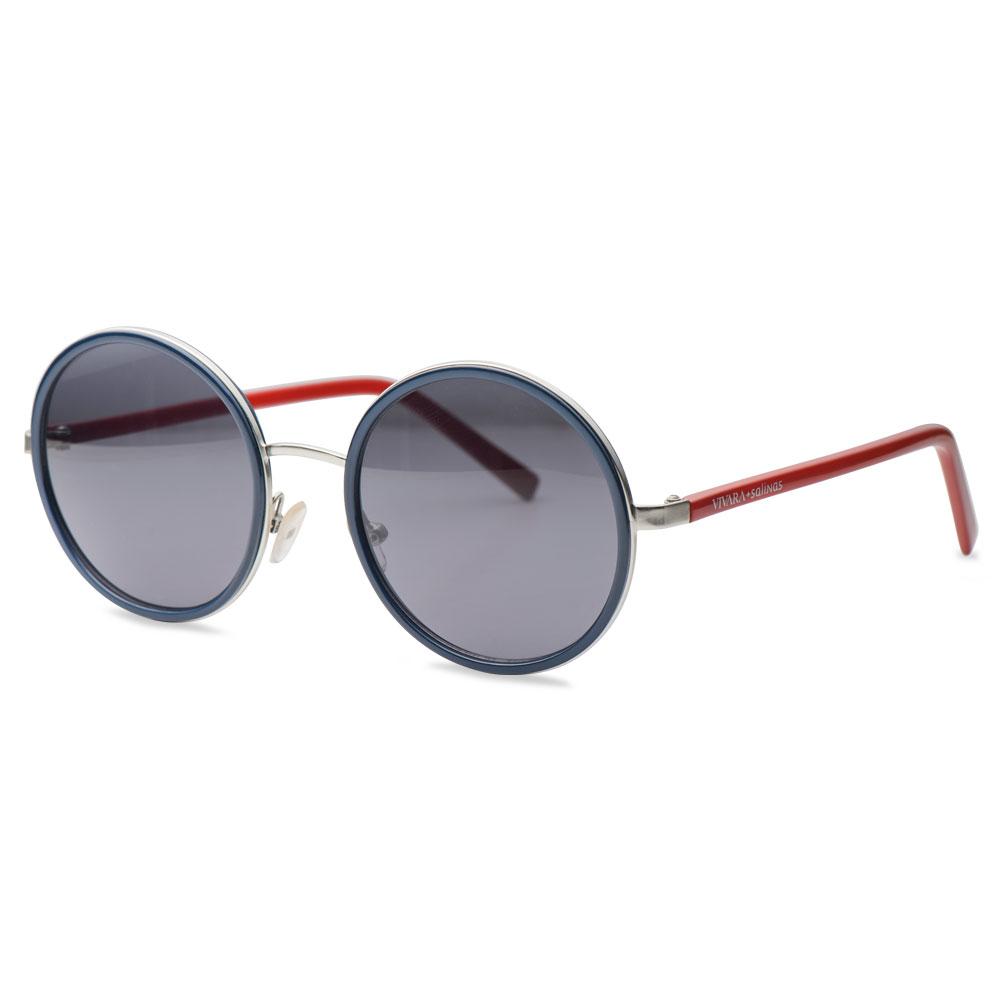 Óculos de Sol Redondo em Acetato Vermelho e Azul - Colecao Vivara + Salinas d734ccae53