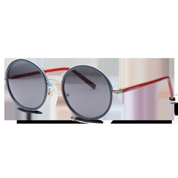 1a7a6cc7ac149 Óculos de Sol Redondo em Acetato Vermelho e Azul