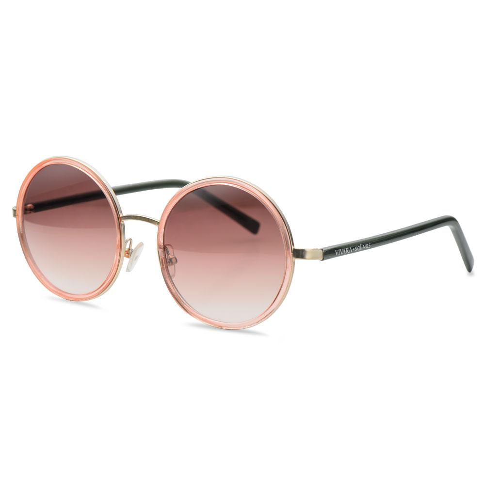 Óculos de Sol Redondo em Acetato Cinza e Rosé - Colecao Vivara + Salinas be4010385c