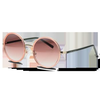 d169a16b326ac Óculos de Sol Redondo em Acetato Cinza e Rosé. Coleção Vivara + Salinas
