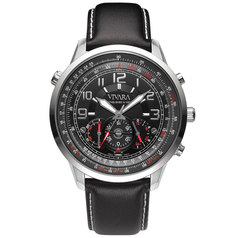 bd53f826b20 Relógio Vivara Masculino Couro Preto - DS13464R0B-1