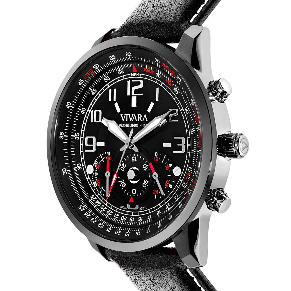 7e89ec127da Vivara Relógios Relógio vivara masculino couro preto - ds13464r0b-1. Passe  o mouse para ampliar