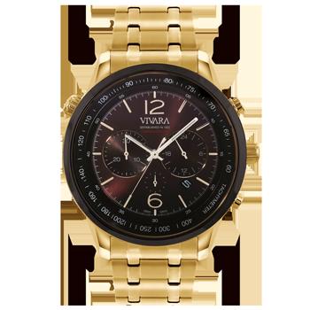 454d0c67a33 Relógio Vivara Masculino Aço Dourado - DS13737R0C-1