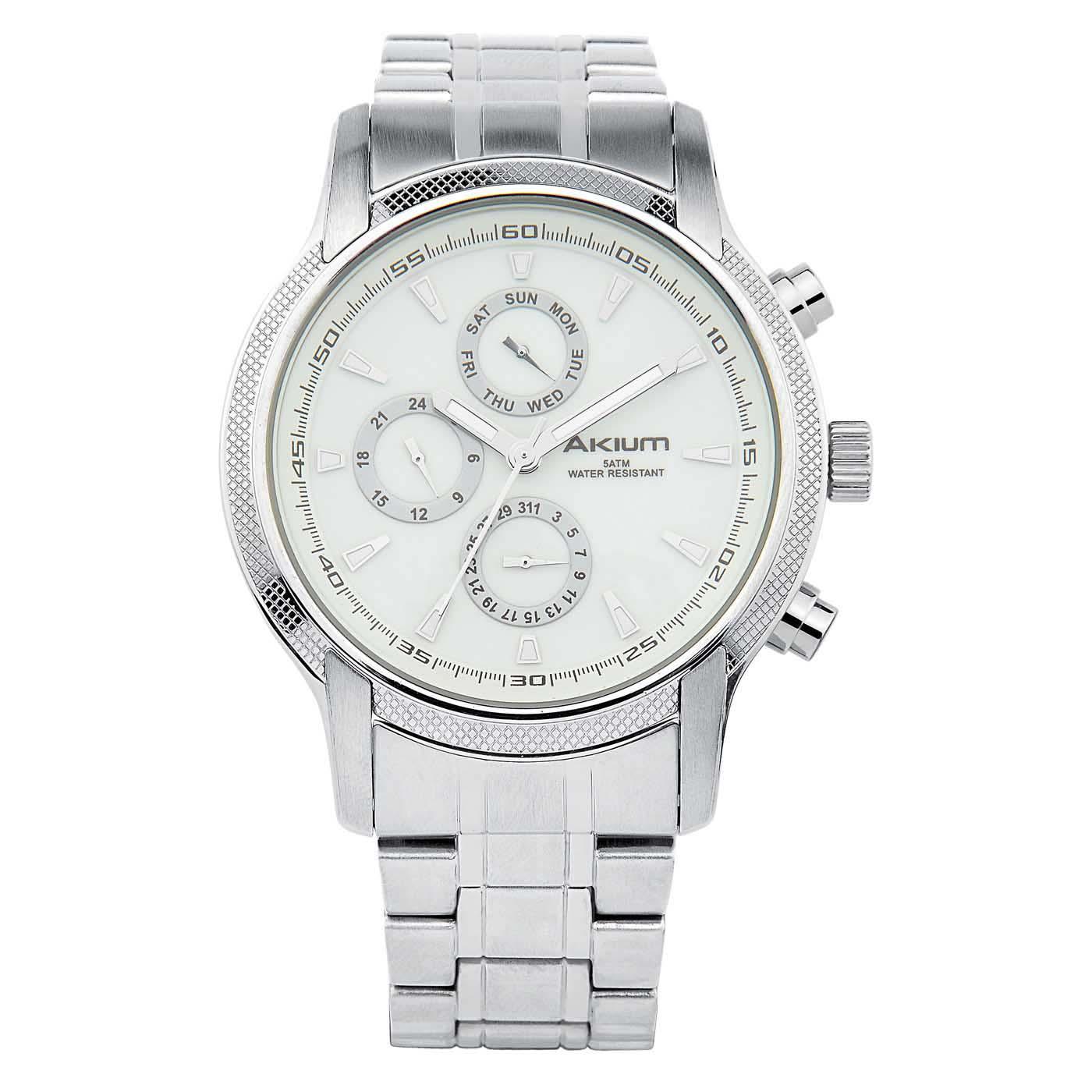 769febefd48 Relógio Akium Masculino Aço - G6606-WHITE