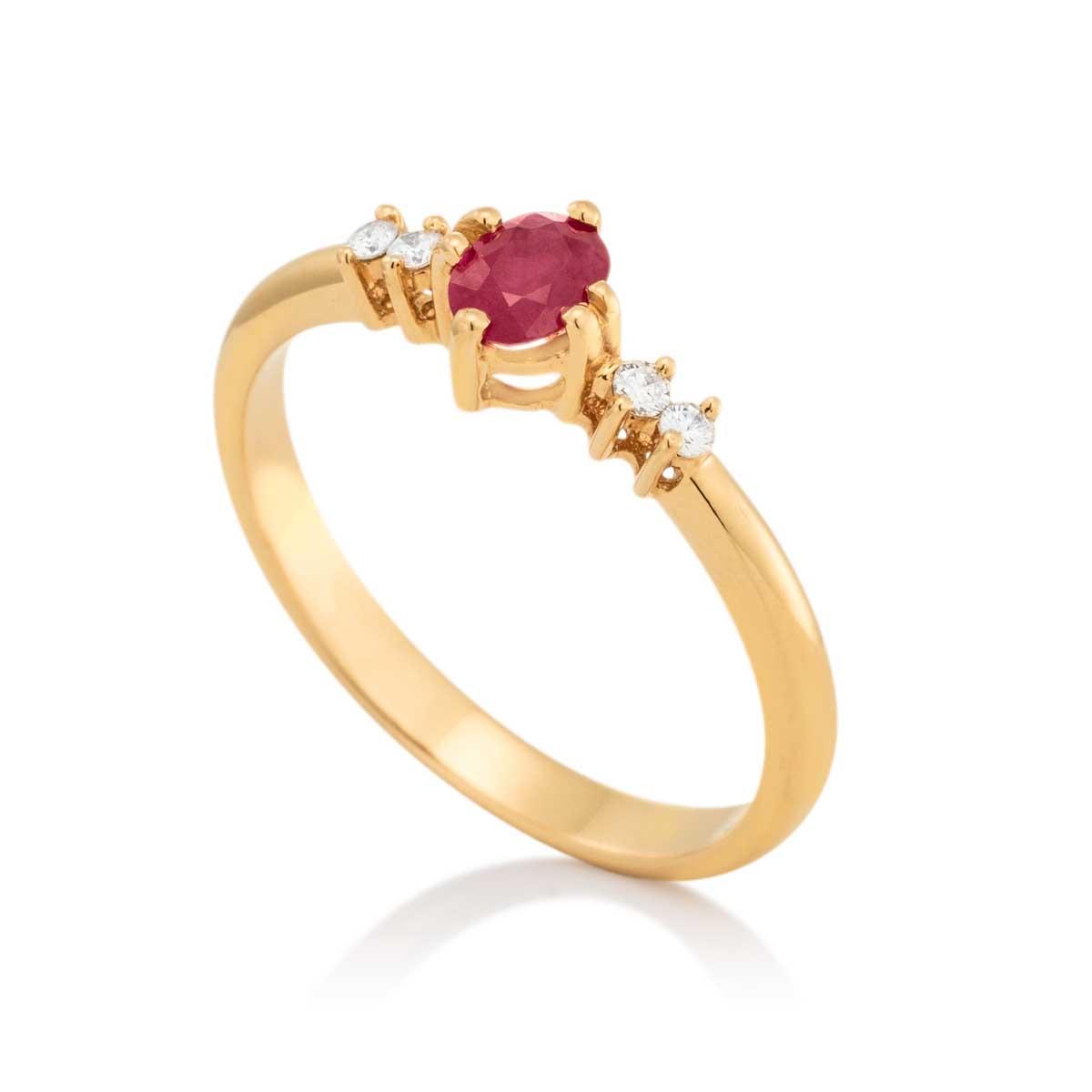 Anel Ouro Amarelo Rubi e Diamante - Colecao Pedras Orientais 350196a13c
