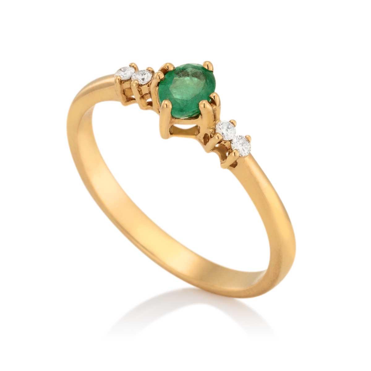 9edc187aa244f Anel Ouro Amarelo Esmeralda e Diamantes - Colecao Pedras Orientais
