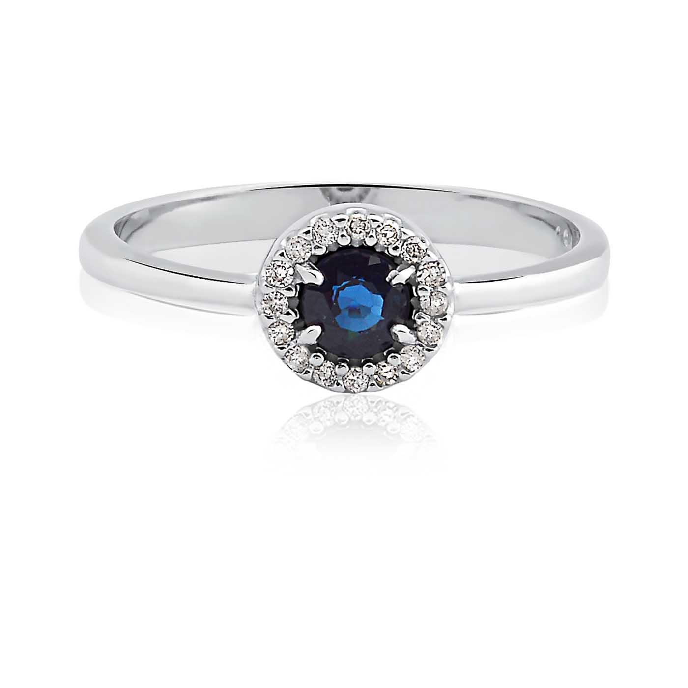 70cef523029f1 Anel Ouro Branco Diamantes e Safira - Colecao Classic Oriental