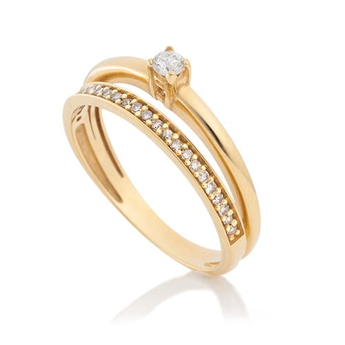 800791b77 Solitário Ouro Amarelo e 20 Pontos de Diamantes - Colecao Solitário