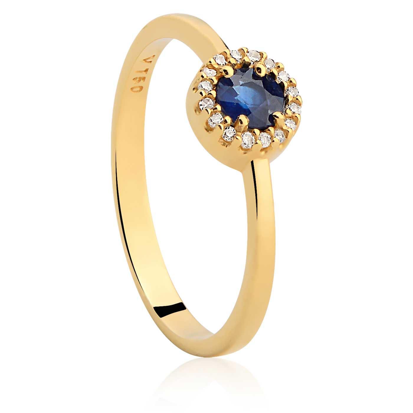 4b0bf634301c8 Anel Ouro Amarelo Diamantes e Safira - Colecao Classic Oriental
