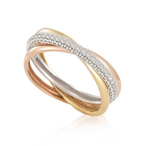 b03aca79ea8f5 Anel Ouro Amarelo Ouro Branco Ouro Rosé e Diamantes - Colecao Elo