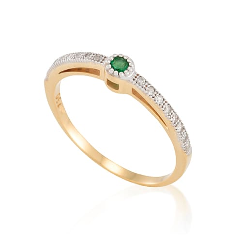 8424783513476 Anel Ouro Amarelo Ouro Branco Diamantes e Esmeralda - Colecao Essencial