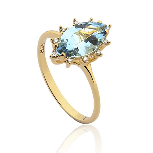Anel Ouro Amarelo Topázio e Diamante - Colecao Sinfonia 934e9bafbd