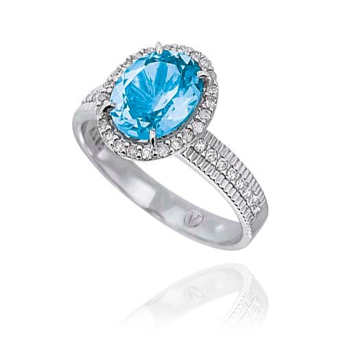 Anel Ouro Branco Topázio Sky e Diamantes - Colecao Vibrante de22c03f5c