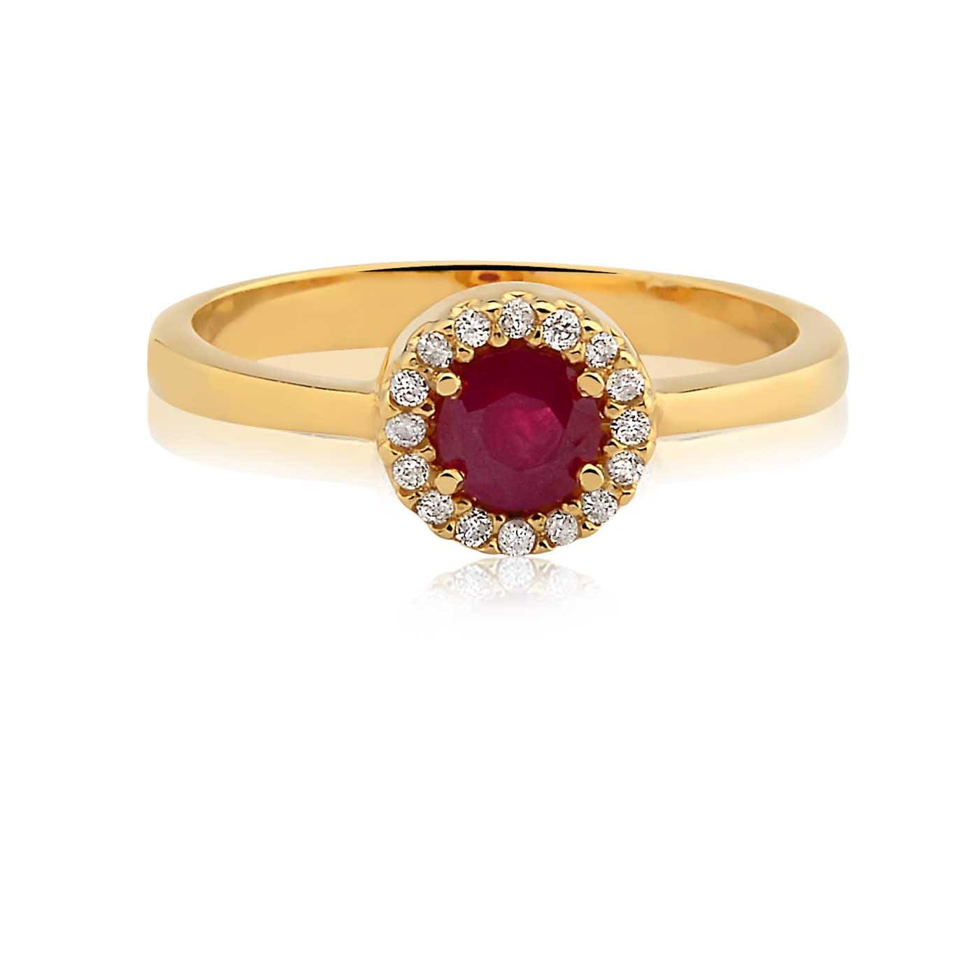 3e9a68cef64 Anel Ouro Amarelo Diamantes e Rubi - Colecao Classic Oriental