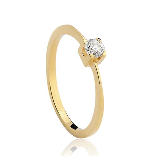 Solitário Ouro Amarelo e 18 Pontos de Diamantes - Colecao Solitário d884f19e1e