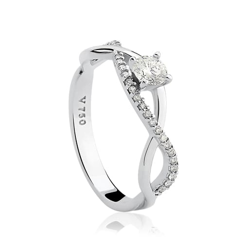 84c122a4fc4a3 Solitário Ouro Branco e 25,8 Pontos de Diamantes - Colecao Solitário