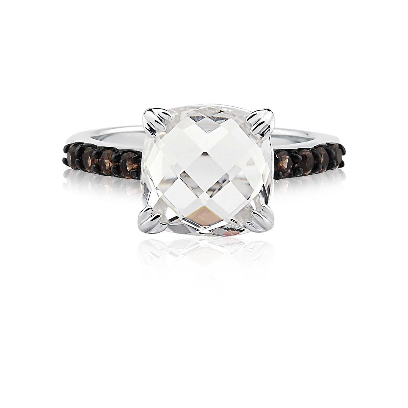 Anel Prata Quartzo e Cristal - Colecao Stones Prata White c216e38ce5