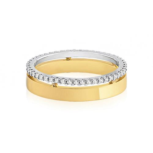 0cb7849c2e6 Aliança de Casamento Ouro Amarelo Ouro Branco e Diamantes - Colecao Love Me