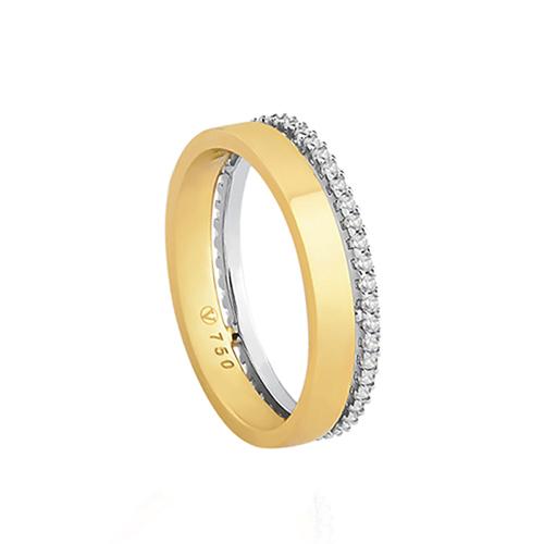 becba214af7 Aliança de Casamento Ouro Amarelo Ouro Branco e Diamantes - Colecao ...