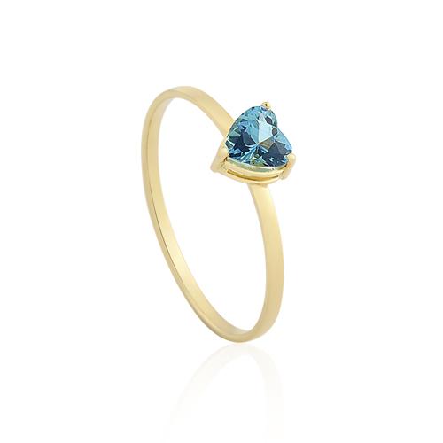Anel Ouro Amarelo e Topázio Azul - Colecao Blue Heart f67cfa85a4