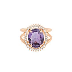 4795beb646936 Anel Ouro Rosé Ametista e Diamantes