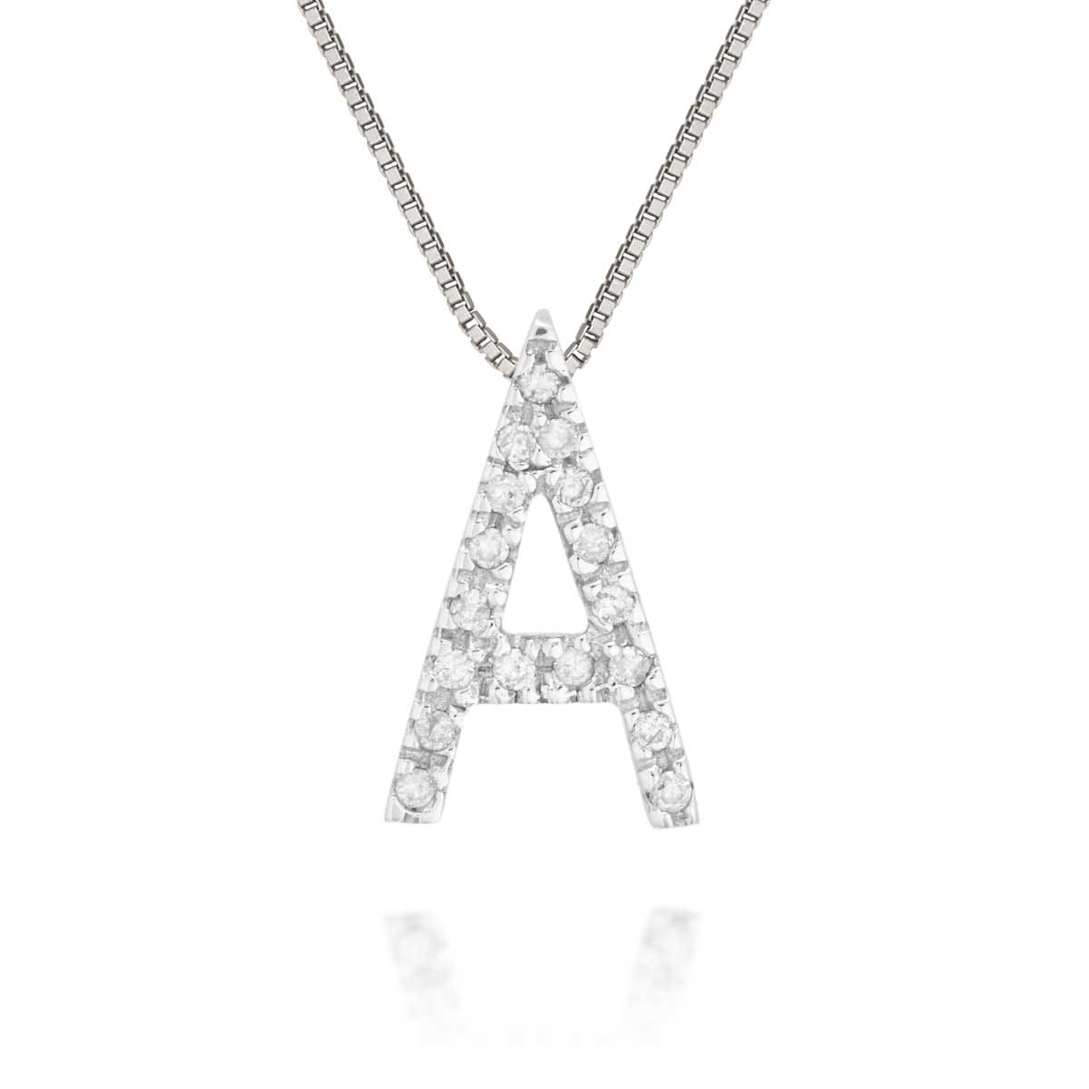 Pingente Letra A Ouro Branco e Diamantes - Colecao Stick Letra 7a78461316