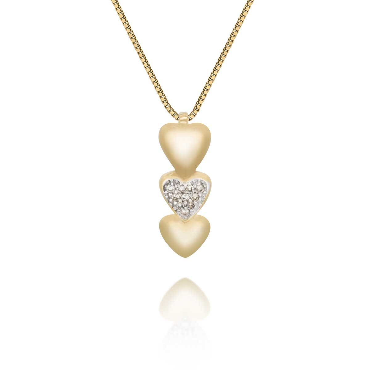 d0387efe6f5a5 Pingente Ouro Amarelo Ouro Branco e Diamante - Colecao Corações