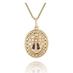 950c90bc3f4d9 Pingente Medalha Nossa Senhora Ouro Amarelo e Safira - Colecao Medalhas