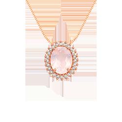 Pingente Ouro Rosé Quartzo Rosa e Diamantes - Colecao Alvorada 87ed975b04