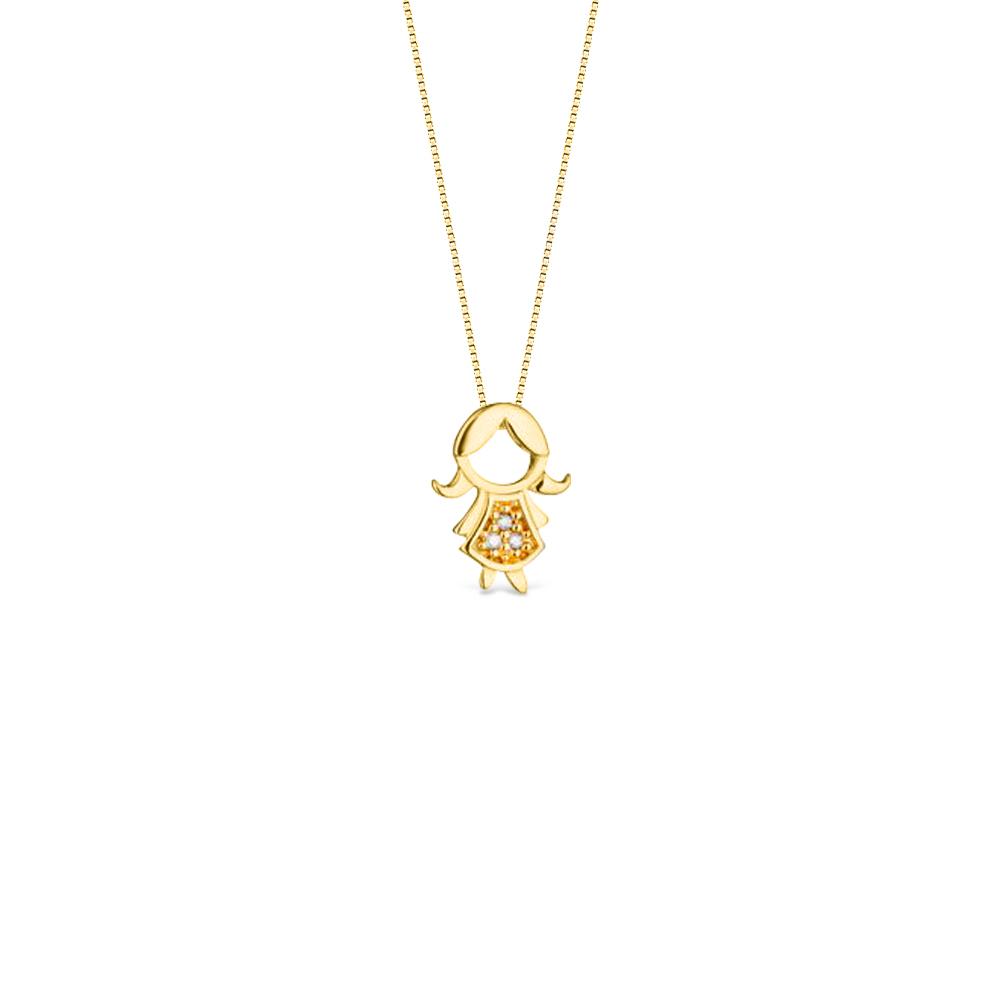 6f660af2805e5 Pingente Menina Vestido Longo Ouro Amarelo e Diamantes - Colecao Mama