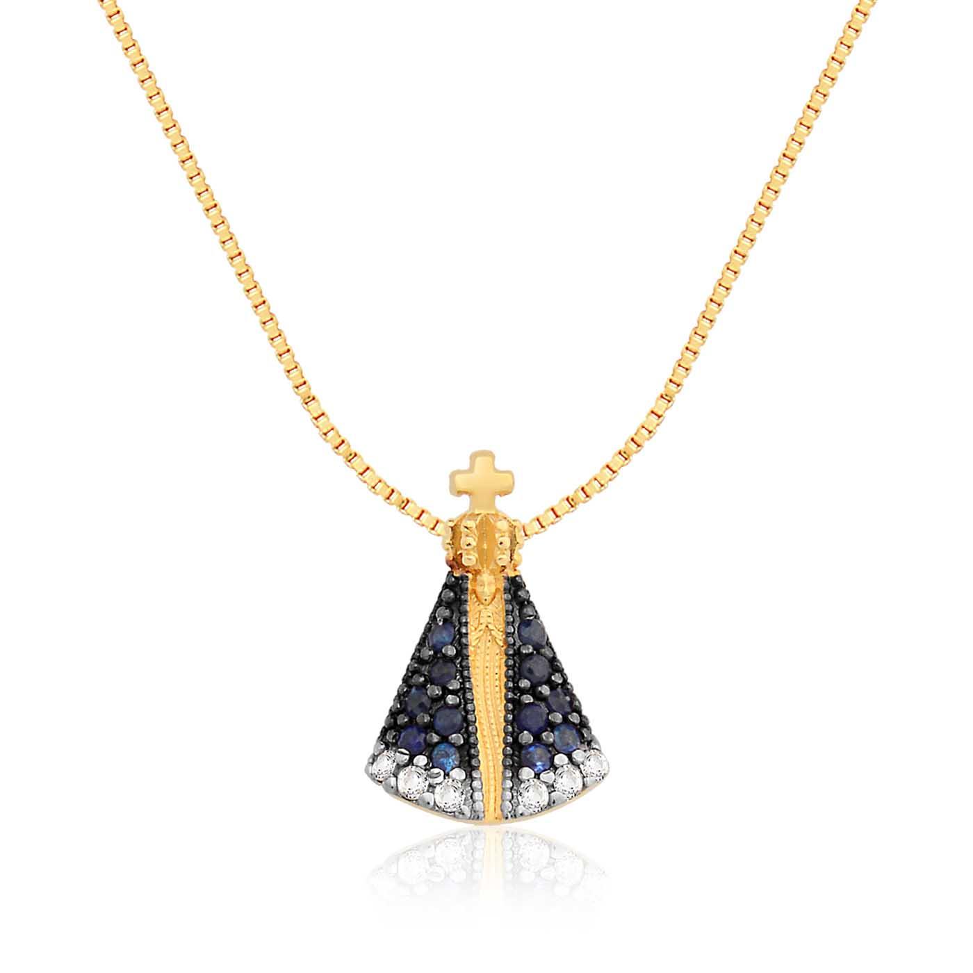 Pingente Nossa Sra Aparecida Ouro Amarelo Safiras e Diamantes 8afa45dbd0