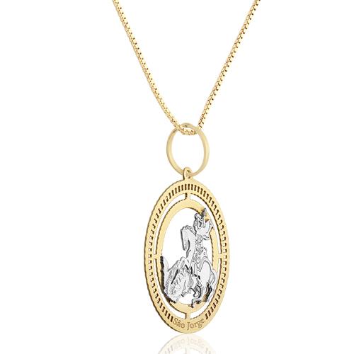 Pingente São Jorge Ouro Amarelo e Ouro Branco - Colecao Medalhas 5bfc60568c
