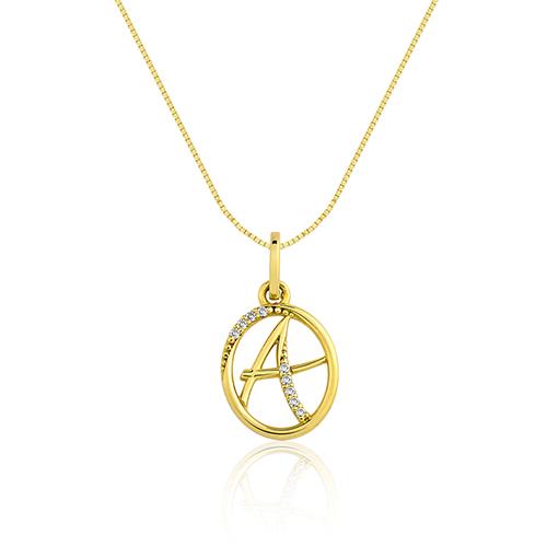 9fc2ba270d528 Pingente Letra A Ouro Amarelo e Diamantes - Colecao Letras