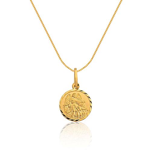 Pingente Anjo da Guarda Ouro Amarelo - Colecao Medalhas 3ca818f333