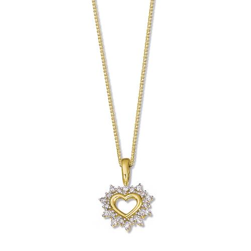Pingente Coração Ouro Amarelo Ouro Branco e Diamantes - Colecao Poema 47bcb984ae