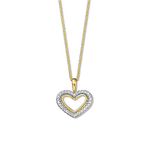 Pingente Corações Ouro Amarelo Ouro Branco e Diamantes - Colecao Poema 2b6b014c28