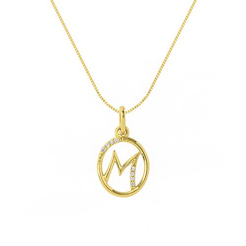8bfd81583e0e4 Pingente Letra M Ouro Amarelo e Diamantes - Colecao Letras