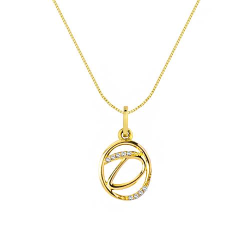 Pingente Letra D Ouro Amarelo e Diamantes - Colecao Letras 13df45506b