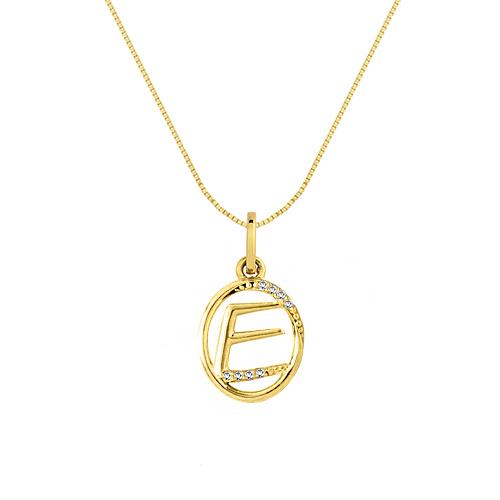 a1938a9d6f0a1 Pingente Letra E Ouro Amarelo e Diamantes - Colecao Letras