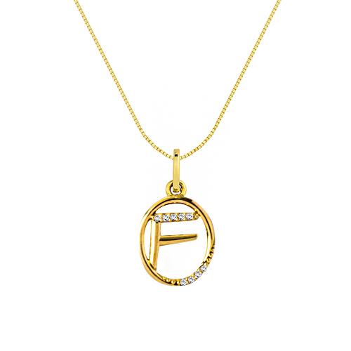 Pingente Letra F Ouro Amarelo e Diamantes - Colecao Letras 18f2a9adf2