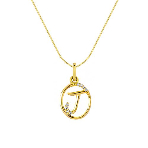 1828afe5f55dd Pingente Letra J Ouro Amarelo e Diamantes - Colecao Letras