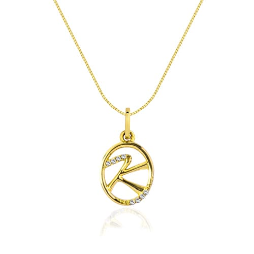 Pingente Letra K Ouro Amarelo e Diamantes - Colecao Letras 91e2e90c32
