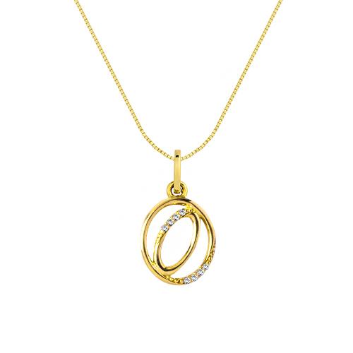 29ec8b174b222 Pingente Letra O Ouro Amarelo e Diamantes - Colecao Letras