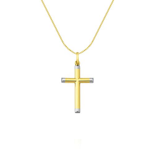 Pingente Cruz Ouro Amarelo e Ouro Branco - Colecao Cruz Ouro 8677c487bd