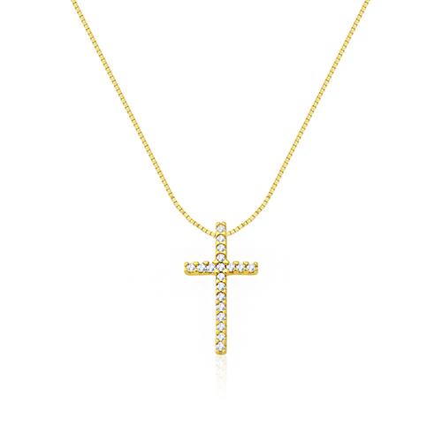 ac2395b2c804f Pingente Cruz Ouro Amarelo e Diamantes - Colecao Cruz Stick