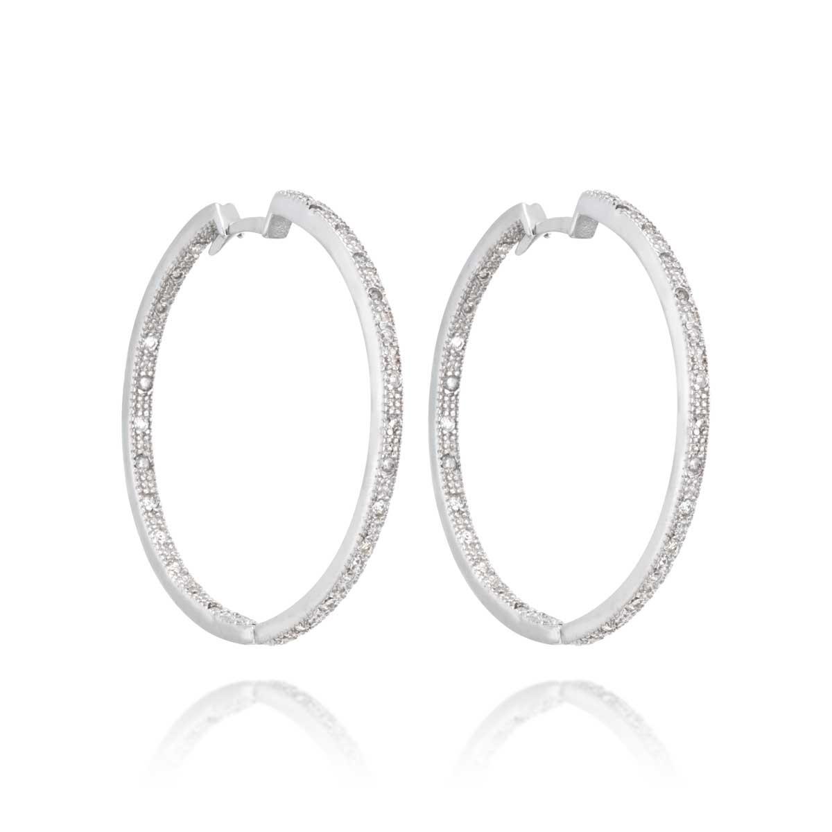3d35a9a92f526 Argola Ouro Branco e Diamantes - Colecao Argolas