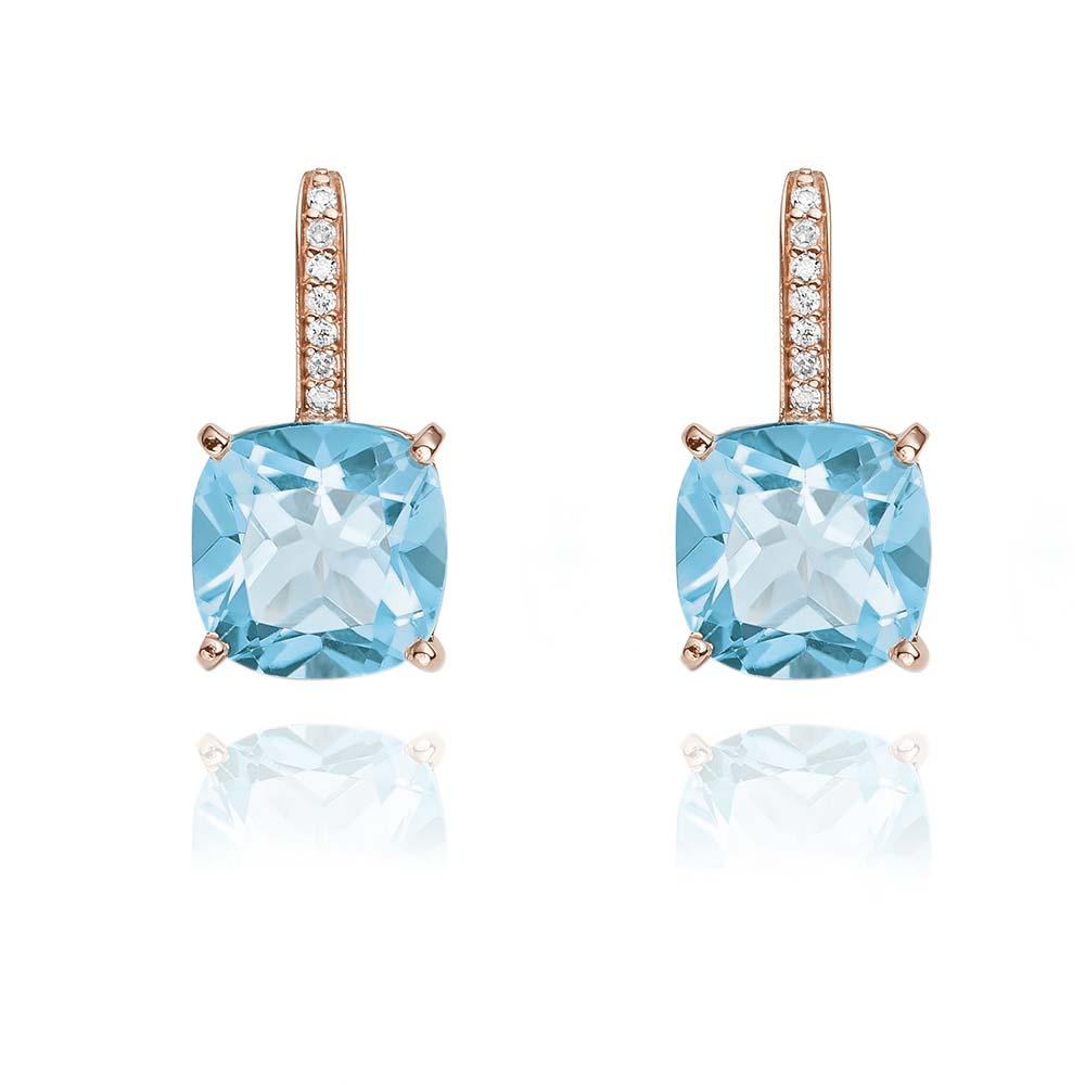 700bd6f9f67 Brinco Ouro Rosé Diamantes e Topázio - Colecao Brisa